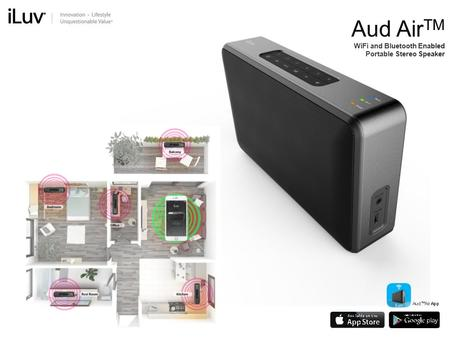 Aud AirTM WiFi and Bluetooth Enabled Portable Stereo Speaker