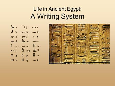 Life in Ancient Egypt: A Writing System. Review of the Gods The religion of ancient Egypt was polytheistic (the belief in many gods). Religion played.