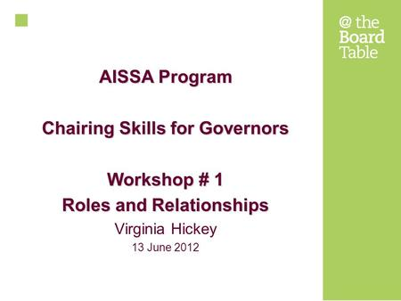 AISSA Program Chairing Skills for Governors Workshop # 1 Roles and Relationships Virginia Hickey 13 June 2012.
