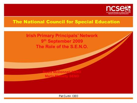 GUIDELINES FOR INDIVIDUAL EDUCATION PLANS Pat Curtin CEO The National Council for Special Education Irish Primary Principals' Network 9 th September 2009.