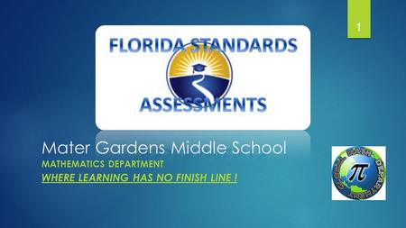 Mater Gardens Middle School MATHEMATICS DEPARTMENT WHERE LEARNING HAS NO FINISH LINE ! 1.