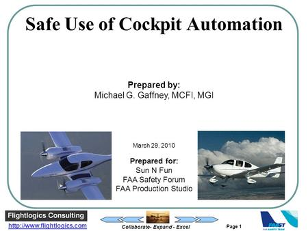 Collaborate- Expand - Excel  Page 1 Safe Use of Cockpit Automation Prepared by: Michael G. Gaffney, MCFI, MGI March 29, 2010.
