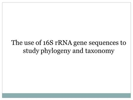 The use of 16S rRNA gene sequences to study phylogeny and taxonomy.