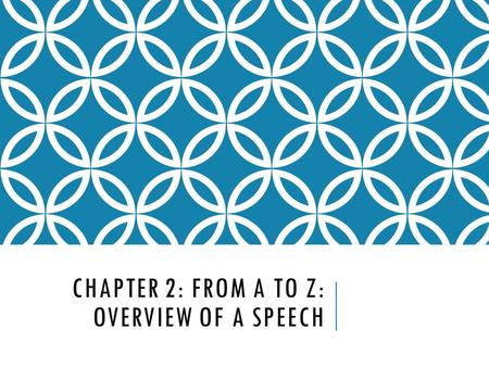 CHAPTER 2: FROM A TO Z: OVERVIEW OF A SPEECH. QUICK 60 In the next 60 seconds, list what interests you. Think about hobbies, television shows, music,
