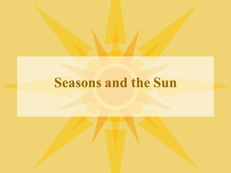 Seasons and the Sun. Sunrise/Sunset On the horizon, the positions of sunrise and sunset shift with the seasons.