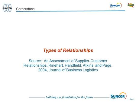 Building our foundation for the future Page 1 Cornerstone Types of Relationships Source: An Assessment of Supplier-Customer Relationships, Rinehart, Handfield,