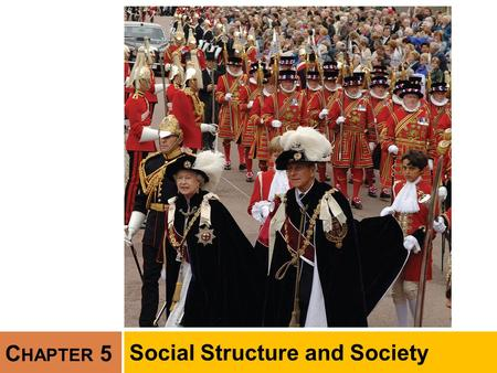 C HAPTER 5 Social Structure and Society. Chapter Outline  Social Structure and Status  Social Structure and Roles  Society  Modernization and the.