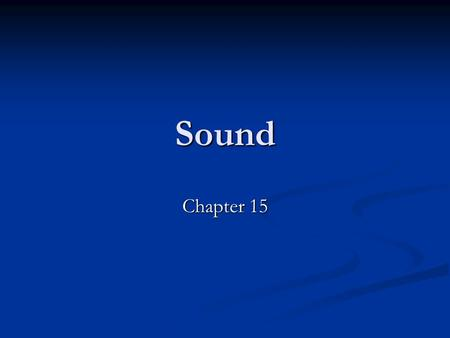 Sound Chapter 15. Sound Waves Sound is a longitudinal wave. (medium displaces parallel to direction of the wave) Sound is a longitudinal wave. (medium.