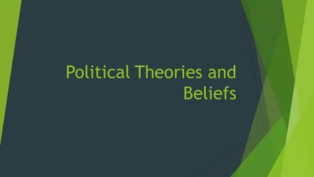 Political Theories and Beliefs. Political Theory and Beliefs and their influence on individuals (10-20 percent) Elitist, pluralist, and hyperpluralist.