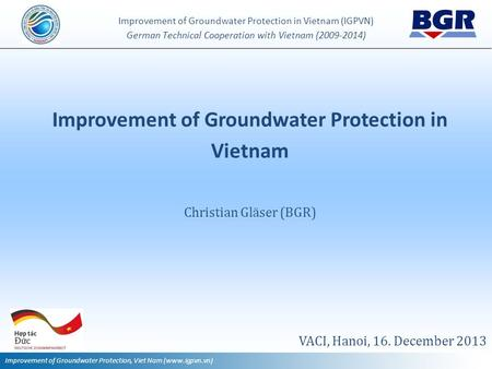 Improvement of Groundwater Protection in Vietnam