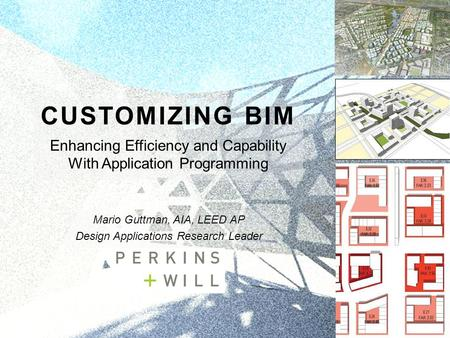 CUSTOMIZING BIM Enhancing Efficiency and Capability With Application Programming Mario Guttman, AIA, LEED AP Design Applications Research Leader.