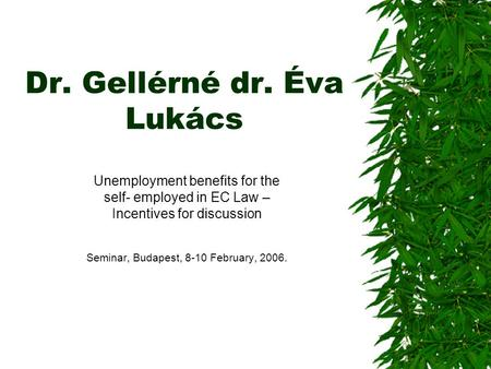 Dr. Gellérné dr. Éva Lukács Unemployment benefits for the self- employed in EC Law – Incentives for discussion Seminar, Budapest, 8-10 February, 2006.