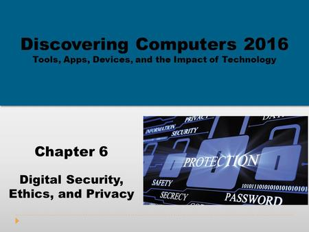 Chapter 6 Digital Security, Ethics, and Privacy Discovering Computers 2016 Tools, Apps, Devices, and the Impact of Technology.