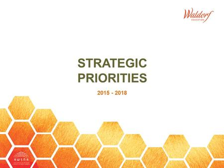 STRATEGIC PRIORITIES 2015 - 2018. The Association of Waldorf Schools of North America SM entered a new strategic visioning cycle in 2014 and completed.