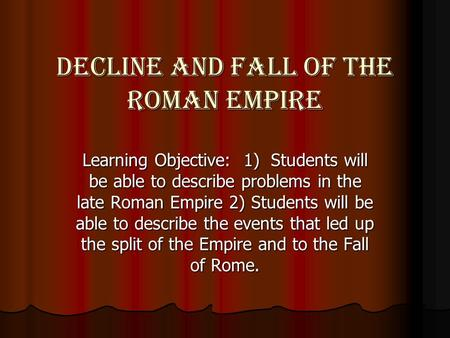 causes of the fall of the roman empire essay