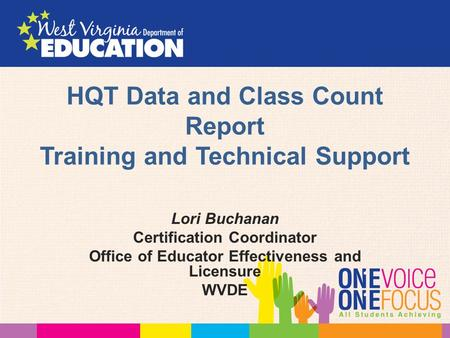 HQT Data and Class Count Report Training and Technical Support Lori Buchanan Certification Coordinator Office of Educator Effectiveness and Licensure WVDE.