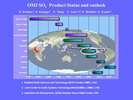 OMI SO 2 Product Status and outlook N. Krotkov 1, A. Krueger 2, K. Yang 1, S. Carn 2,P. K. Bhartia 3, K. Evans 2 1. Goddard Earth Sciences and Technology.