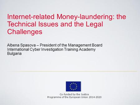 Internet-related Money-laundering: the Technical Issues and the Legal Challenges Albena Spasova – President of the Management Board International Cyber.