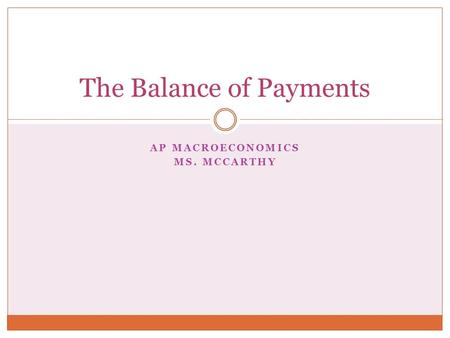 AP MACROECONOMICS MS. MCCARTHY The Balance of Payments.