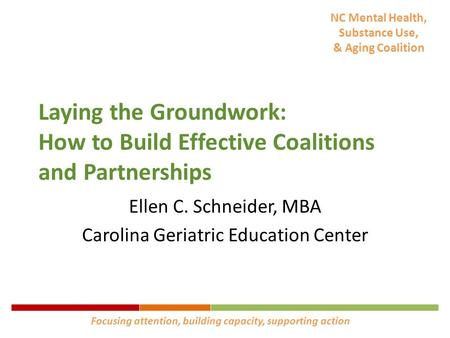 NC Mental Health, Substance Use, & Aging Coalition Laying the Groundwork: How to Build Effective Coalitions and Partnerships Ellen C. Schneider, MBA Carolina.
