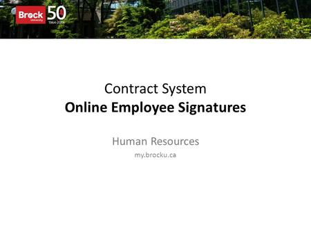 Contract System Online Employee Signatures Human Resources my.brocku.ca.