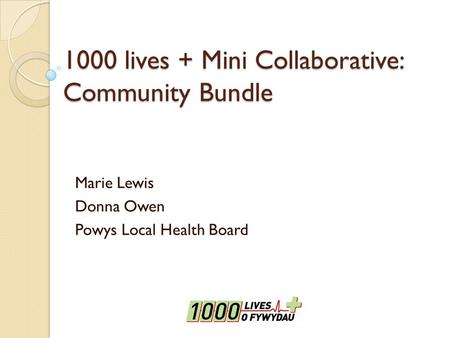 1000 lives + Mini Collaborative: Community Bundle Marie Lewis Donna Owen Powys Local Health Board.