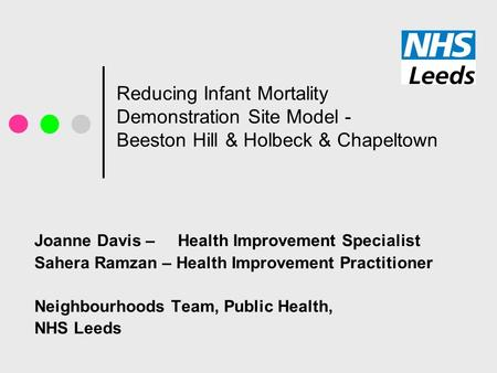 Reducing Infant Mortality Demonstration Site Model - Beeston Hill & Holbeck & Chapeltown Joanne Davis – Health Improvement Specialist Sahera Ramzan – Health.
