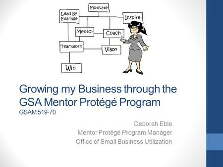 Growing my Business through the GSA Mentor Protégé Program GSAM 519-70 Deborah Eble Mentor Protégé Program Manager Office of Small Business Utilization.