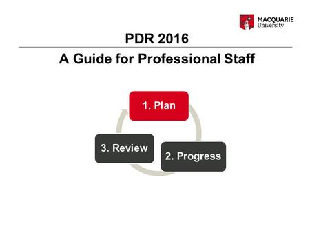 PDR 2016 A Guide for Professional Staff 1. Plan 2. Progress 3. Review.