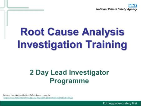 Content from National Patient Safety Agency material  2 Day Lead Investigator.