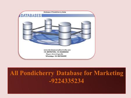 All Pondicherry Database for Marketing -9224335234.