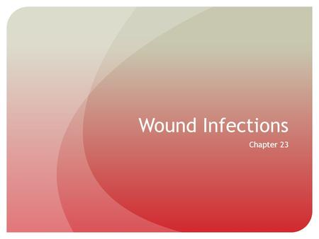 Wound Infections Chapter 23. Introduction Many people obtain wounds that produce breaks in the skin or mucous membranes Microorganisms have the ability.