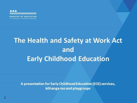 The Health and Safety at Work Act and Early Childhood Education A presentation for Early Childhood Education (ECE) services, kōhanga reo and playgroups.