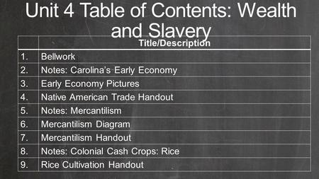 Unit 4 Table of Contents: Wealth and Slavery Title/Description 1.Bellwork 2.Notes: Carolina's Early Economy 3.Early Economy Pictures 4.Native American.
