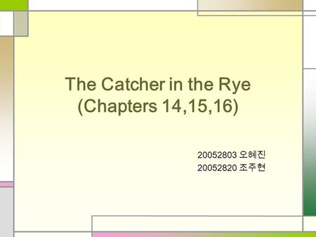The Catcher in the Rye (Chapters 14,15,16) 20052803 오혜진 20052820 조주현.