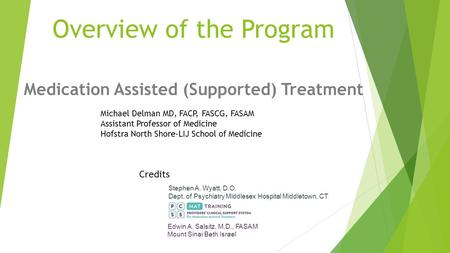 Overview of the Program Medication Assisted (Supported) Treatment Michael Delman MD, FACP, FASCG, FASAM Assistant Professor of Medicine Hofstra North Shore-LIJ.