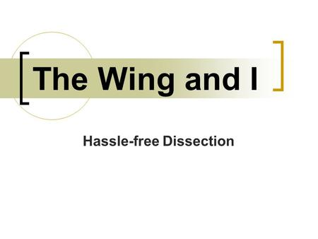 The Wing and I Hassle-free Dissection. Safety Instructions Chicken may be contaminated with Salmonella!  You must wear gloves and goggles at all times.