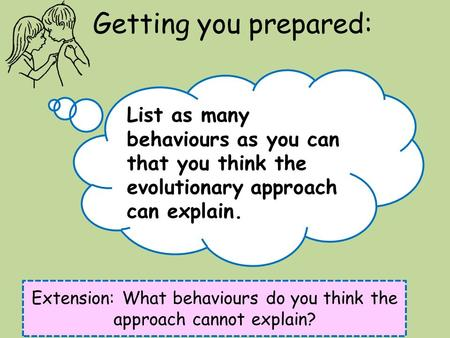 Getting you prepared: List as many behaviours as you can that you think the evolutionary approach can explain. Extension: What behaviours do you think.