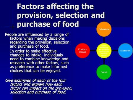 Factors affecting the provision, selection and purchase of food People are influenced by a range of factors when making decisions regarding the provision,