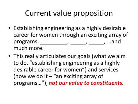 Current value proposition Establishing engineering as a highly desirable career for women through an exciting array of programs, _________, _____, _____,