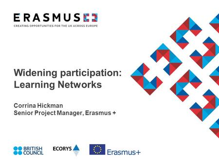 Widening participation: Learning Networks Corrina Hickman Senior Project Manager, Erasmus +