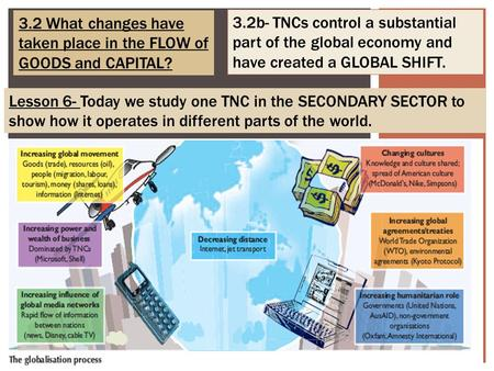 3.2 What changes have taken place in the FLOW of GOODS and CAPITAL? 3.2b- TNCs control a substantial part of the global economy and have created a GLOBAL.