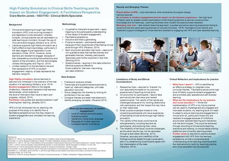 High Fidelity Simulation in Clinical Skills Teaching and its Impact on Student Engagement: A Facilitators Perspective. Clare Martin-Jones - 14031193 -
