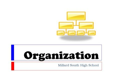 Organization Millard South High School. What does organization mean? Organizing means to put things together in an orderly way. When writing a paper,