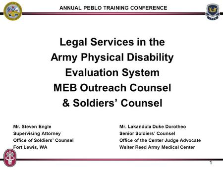 ANNUAL PEBLO TRAINING CONFERENCE Army Physical Disability