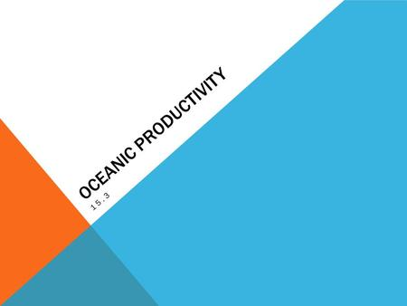 OCEANIC PRODUCTIVITY 15.3. TWO TYPES OF ORGANISMS PRODUCERS = MAKE THEIR OWN FOOD Phytoplankton Algae (diatoms, sea weed, etc.) bacteria CONSUMERS= FEED.
