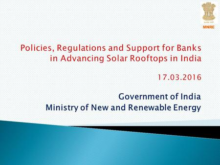 Government of India Ministry of New and Renewable Energy MNRE.