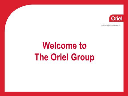 Welcome to The Oriel Group. Adrian Stalley Director of Collections Services.