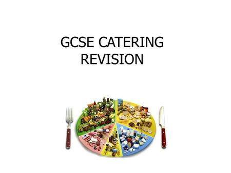 GCSE CATERING REVISION. The subject covers four areas: 1.The Catering Industry 2.Nutrition & Menu Planning 3.Food Production 4.Technological Advancements.