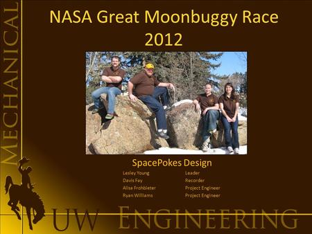 NASA Great Moonbuggy Race 2012 SpacePokes Design Lesley Young Leader Davis FayRecorder Alisa FrohbieterProject Engineer Ryan WilliamsProject Engineer.